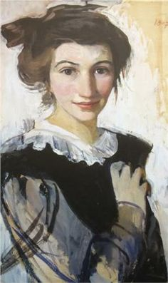Zinaida Serebriakova Self portrait wearing a scarf Giclee Canvas Print Paintings