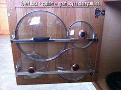 Use Towel Rack to Store Pan Lids