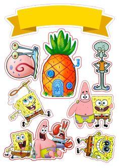 Spongebob Painting, Spongebob Drawings, Spongebob Birthday Party, Birthday Diy, Cake Birthday, Tumblr Stickers, Diy Stickers, Balloon Template, Diy Birthday Decorations