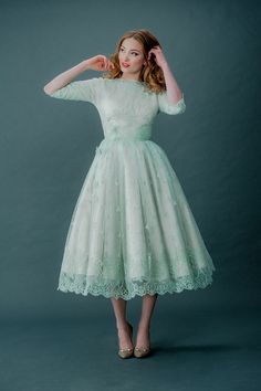 Femmes Fatale and French Fancies ~ Tinted Lace and Tea Length Wedding Dresses by Joanne Fleming Design - This would be good to wear to a wedding! Colored Wedding Dress, Tea Length Wedding Dress, Tea Length Dresses, Wedding Dresses, Mint Green Wedding Dress, Tea Length Bridesmaid Dresses, Lace Bridesmaids, Bridal Gowns, Vintage Outfits