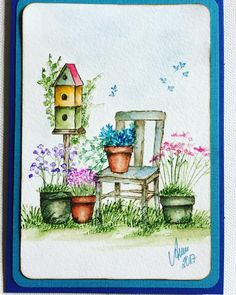 "16 Likes, 3 Comments - Anja Kipp (@alsterhexe) on Instagram: ""#artimpressions#aistamps#watercolor#aquarell#chair#birdhouse#marvymarkers#loveit❤️"""