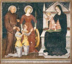 Maestro di San Nicolò ai Celestini (notizie sec. XIV seconda metà): Madonna con Bambino in trono con santi e devoti, 1382, materia e tecnica: affresco staccato; oro punzonato, 222 cm x 196 cm