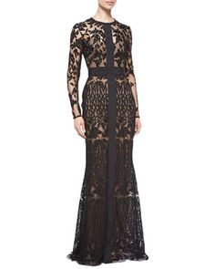 Long-Sleeve Sheer Embroidered Lace Gown by Elie Saab at Neiman Marcus.