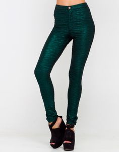 I need these pants in my life. :l Buy Star Wet Look Skinny Pant in Emerald Crush at Motel Rocks