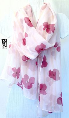 Hand Painted Silk Shawl, Pastel Pink Silk Shawl with Claret Purple Flowers. Silk Chiffon Scarf. 19x78 in. Made to order. on Etsy, $140.00