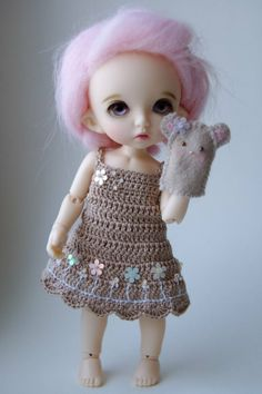 Summer Faerie - Iced Latte (Pukifee / Lati Yellow crochet dress)