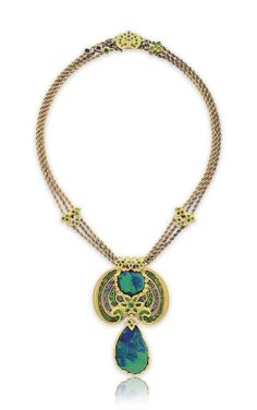 A BLACK OPAL, DEMANTOID GARNET, SAPPHIRE AND ENAMEL NECKLACE, BY LOUIS COMFORT TIFFANY, TIFFANY & CO. | Tiffany, Louis Comfort (1848-1933), 1920s | Christie's