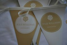Julie Williams Photography's vinyl bunting, Julie wanted a durable marketing tool that would be eye catching and re-usable when exhibiting at wedding fairs to dress her stands. Julie Williams, Wedding Fair, Marketing Tools, Bunting, Paper Shopping Bag, Eye, Dress, Garlands, Vestidos