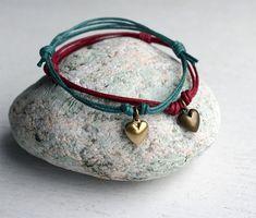 Heart Charm Bracelet / Heart Charm Anklet many by greenduckweed, $6.50