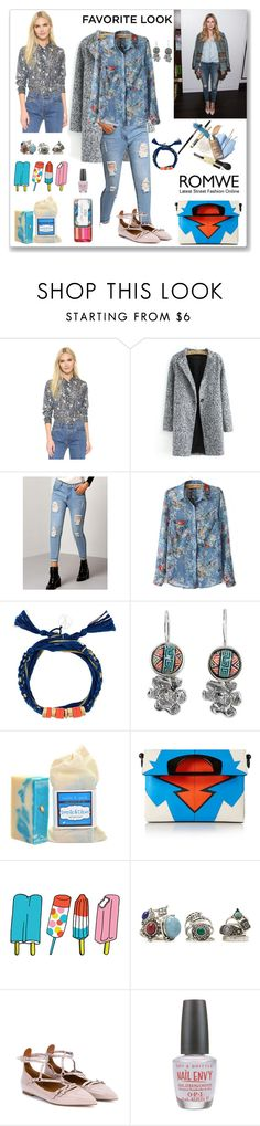 """""""Romwe Blue Pants - 2"""" by ludmyla-stoyan ❤ liked on Polyvore featuring Marc Jacobs, Aurélie Bidermann, NOVICA, Christian Louboutin, Tattly, Forever 21, Valentino and OPI"""