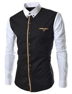 (HA60-BLACK) Slim Fit Stretchy 2 Tone Patched Pocket Long Sleeve Shirts