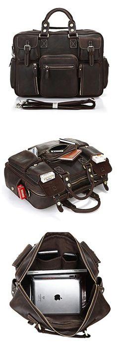 Vintage Handmade Genuine Crazy Horse Leather Business Travel Bag /Duffle bag/#Luggage #Bag