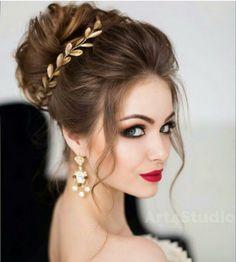 wedding hairstyles half up half down; wedding hairstyles for long hair; Wedding Hair And Makeup, Bridal Makeup, Hair Makeup, Bridal Updo, Wedding Updo, Bridal Hair Buns, Makeup Shop, Wedding Dress, How To Make Hair