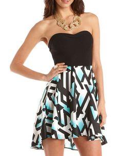 Geo Print Hi-Low 2-Fer Tube Dress: Charlotte Russe