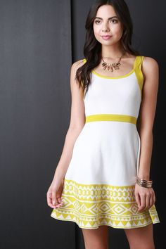 Colorblock Tribal Hem Sleeveless Sweater Dress - Black or Yellow – B'klynBorn