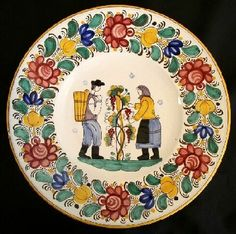 Modranska keramika - Slovak Modra Ceramic plate Bratislava, Contemporary Decorative Art, Floral Drawing, Arte Popular, Naive Art, Sugar Art, Pottery Painting, Porcelain Ceramics, Vintage China