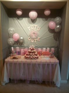 Tutu cute baby girl shower with diy no sew tutu kits as favors