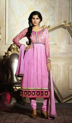 Look awesome wearing this pink embroidered georgette Anarkali suit. Beautified with lace and resham work all synchronized properly through the pattern and style of the attire. #LatestLongCasualDresses