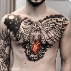 Owl Holding Heart Chest Tattoo