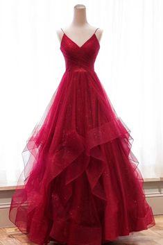 Burgunder V-Ausschnitt Tüll langes Abendkleid, Burgunder Abendkleid - Mode Kleider Cheap Red Prom Dresses, V Neck Prom Dresses, Prom Party Dresses, Party Gowns, Elegant Dresses, Homecoming Dresses, Formal Dresses, Dress Prom, Dress Long