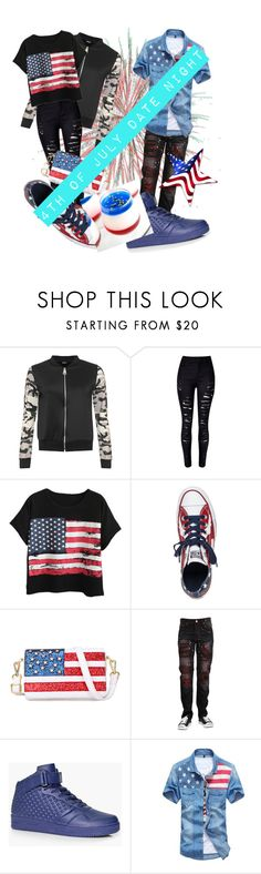 """""""4th Of July Date Night"""" by adelle-louise-istead on Polyvore featuring WearAll, WithChic, Chicnova Fashion, Converse and BoohooMAN"""