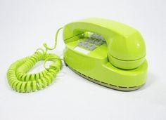 1978 Vintage Phone chartreuse push button telephone. $78.00, via Etsy.