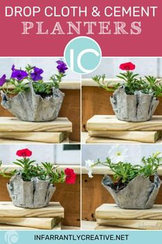 Learn how to make diy cement planters. They make the coolest textured pots.  They are easy but super messy to make. The sizes and possibilities are only limited by the containers you have. I love the juxtaposition of the bright flowers with the rough texture of cement. How To Make Diy, How To Make Wreaths, Easy Diy Crafts, Diy Craft Projects, Diy Paper, Paper Crafts, Diy Cement Planters, Bright Flowers, Diy Wreath
