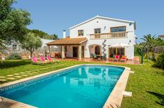 Villa Agora is a beautiful 3 bedroom villa with private pool, wifi, air con. British Travel, Villa With Private Pool, Menorca, Spain, Mansions, House Styles, Outdoor Decor, Holiday, Vacations