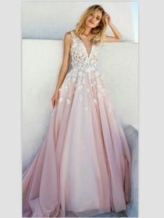 2017 A-line V Neck Appliques Prom Dresses, Blush Pink Chapel Train Dresses ASD26813