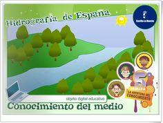 """""""Hidrografía de España"""", de la Junta de Castilla y La Mancha, es una aplicación en la que se exponen de forma interactiva las características de los ríos españoles. Finaliza con actividades de evaluación sobre el aprendizaje adquirido."""
