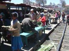"""El Chepe (Train ride from Los Mochis, Sinaloa state to Chihuahua city, C...***Este es el Ferrocaril Chihuahua """"Chepe"""" viajando desde Los Mochis, Sinaloa rumbo a Chihuahua y para en la estacion de """"Barrancas del Cobre, Sierra Tarahumara, Chihuahua.***.  This travels from Los Mochis, Sinaloa to the city of Chihuahua in the state of Chihuahua and back. They are selling their wares by the train station."""