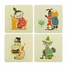 Lasinalunen Muurla Muumi Retro 4 kpl Moomin Valley, Tove Jansson, Retro 4, Little My, Children's Book Illustration, Totoro, Childrens Books, Illustrators, Cartoon