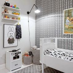 Black and white and graphic room for a kids - works well for either boy or girl