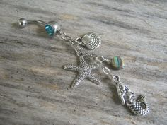 Abalone Mermaid Belly Ring, Starfish Nautical Navel Ring, Birthstone Belly Button Jewelry, Ocean Shell Body Jewelry, Abalone Navel Ring on Etsy, $21.54 CAD