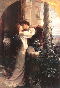 Frank Dicksee (English, 1853-1928). Representing the famous balcony scene from Romeo and Juliet, 1884