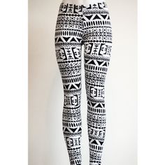 Tribal Womens Aztec Mayan Print Pattern Black and White Leggings... ($22) ❤ liked on Polyvore