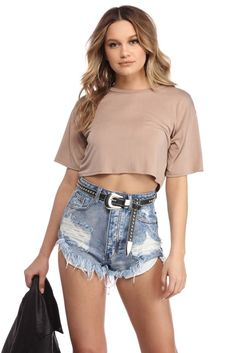 Life's a breeze with this go to tee to get you through the day! It features a wide round neckline, short sleeves and a trendy cropped fit. Top is Crop Tee, Tee Shirt, Womens Fashion, Latest Fashion, Cute Outfits, Tees, Shirts, My Style, Casual