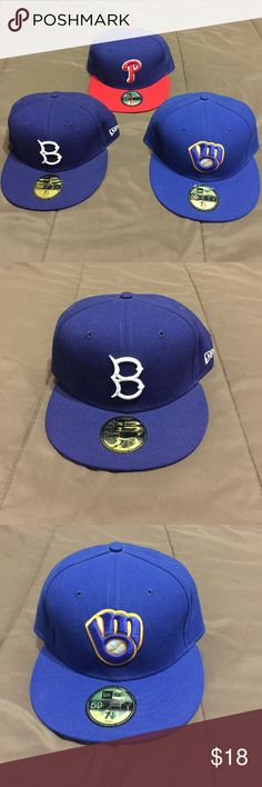 Men New Era Baseball Hats Royal Blue Brooklyn, Milwaukee Brewers, and Philadelphia Phillies IN GREAT CONDITION ONLY WORN A FEW TIMES!!! $18 each New Era Accessories Hats