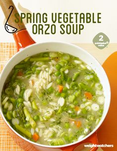 Spring into dinner with peas, asparagus, carrots, scallions, fresh dill and orzo. This healthy vegetable soup is perfect as a side or add your favorite protein to make it a main dish.