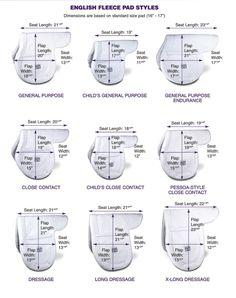 English Saddle Pad Sizing chart