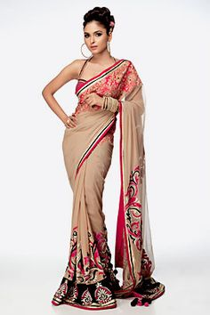 Beige Patchwork Saree by Satya Paul
