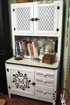 Hoosier Hutch Makeover just using Vinyl at www.thescrapshoppeblog.com