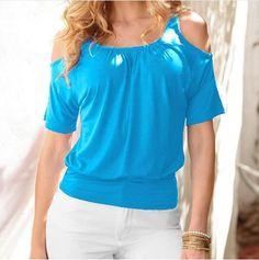 Dámské stylové volné tričko s odkrytými rameny modré – Velikost L Na tento  produkt se vztahuje 42089e3228