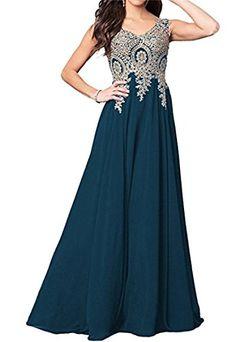 5005a804873e Dydsz Womens Evening Party Dresses Long Formal Prom Dress A Line V Neck  Appliques D86 VneckTeal