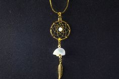 Gold Dreamcatcher Necklace with Mother of Pearl Zuni Bear and Bead, small dream catcher, Native American inspired, white bear, boho by OriginalsByCathy on Etsy Dream Catcher Jewelry, Small Dream Catcher, Animal Jewelry, Bead Weaving, Pearl Beads, Gold Chains, Native American, Pendant Necklace, Bear