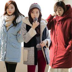 Gmarket - BEBUYING Women`s winter coat / fur trimmed hood / pa...