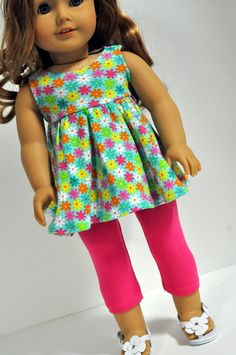 American Girl Doll Clothes Mint Floral Print by CircleCSewing
