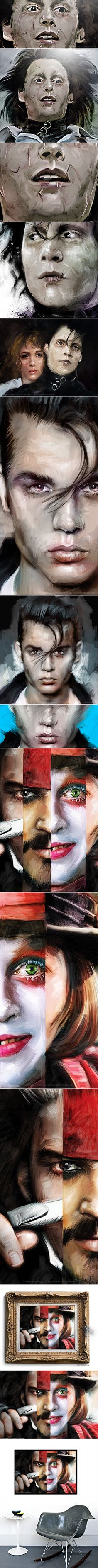 Many Faces of Johnny Depp by Vlad Rodriguez, via Behance