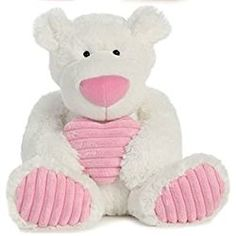 "White Soft Teddy Bear with Pink Heart 12"" Plush Valentine's Day Gift"