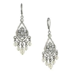 A distinct and popular vintage look, these earrings are set in silver tone metal with an antique finish. A delicate crystal flower pattern is prominently set in the middle and off white faux pearls adorn the bottom of the earrings.
